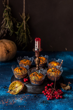 Pumpkin Muffins, Hallowen Party Decorations, Spiders and Spider Web, copy space for your text