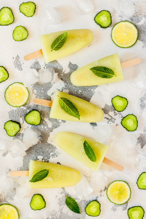Cucumber, Green Tea and Lime Ice Cream Popsicles