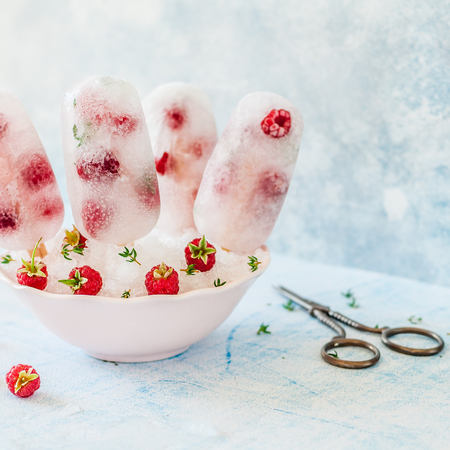 Sparkling Soda, Raspberry and Thyme Ice Popsicles, square