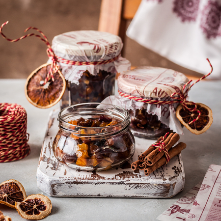 Christmas Fruit Mince in Jars, British Mincemeat, square 写真素材