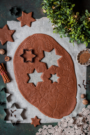 Rolled Gingerbread Cookie Dough with Lace Print Imagens
