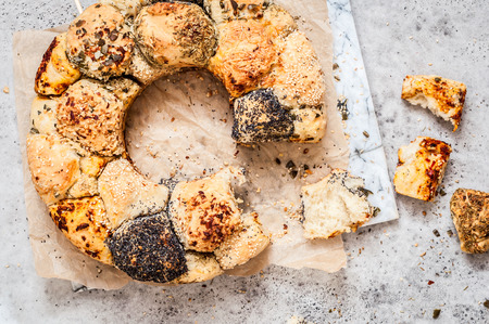Savoury Monkey Puzzle Bread with Herbs, Seeds, Nuts and Cheese, copy space for your text Zdjęcie Seryjne