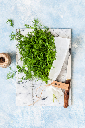 A Bunch of Dill Wrapped in Paper, copy space for your text Standard-Bild