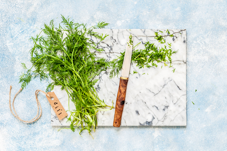 A Bunch of Dill Wrapped Being Chopped, copy space for your text Standard-Bild
