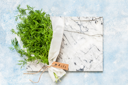 A Bunch of Dill Wrapped in Paper, copy space for your text