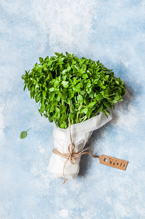 A Bunch of Basil Wrapped in Paper, copy space for your text