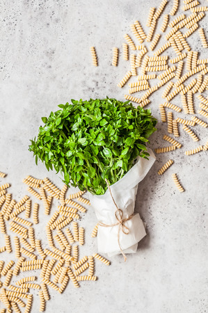 A Bunch of Basil Wrapped in Paper and Fusilli Pasta, copy space for your text