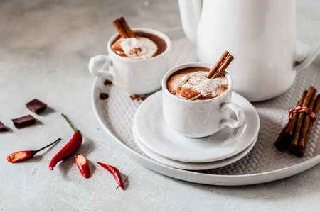 Hot Chocolate with Chili and Cinnamon Topped with Whipped Cream, copy space for text