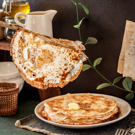 A Stack of Thin Crepes, Blini Stock fotó