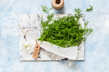 A Bunch of Dill Wrapped in Paper, copy space for text Standard-Bild