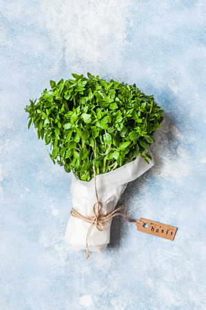A Bunch of Basil Wrapped in Paper, copy space for text