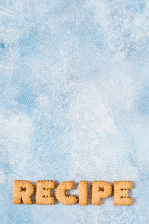 Crackers Arranged as a Word Recipe, copy space for  text Stok Fotoğraf