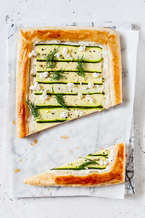 Puff Pastry Zucchini and Cheese Tart with Dill Imagens