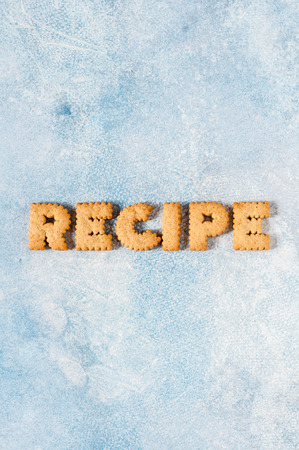 Crackers Arranged as a Word Recipe, copy space for your text