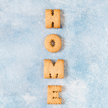 Crackers Arranged as a Word Home, copy space for your text, square 版權商用圖片
