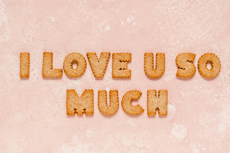 Crackers Arranged as a Phrase I Love You So Much, copy space for your text Stok Fotoğraf
