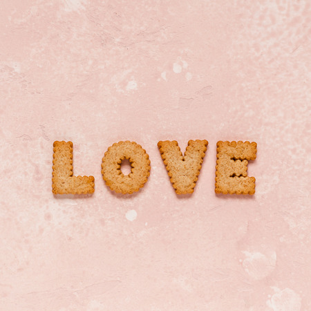 Crackers Arranged as a Word Love, square