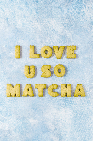 Crackers Arranged as a Phrase I Love U So Matcha, copy space for your text