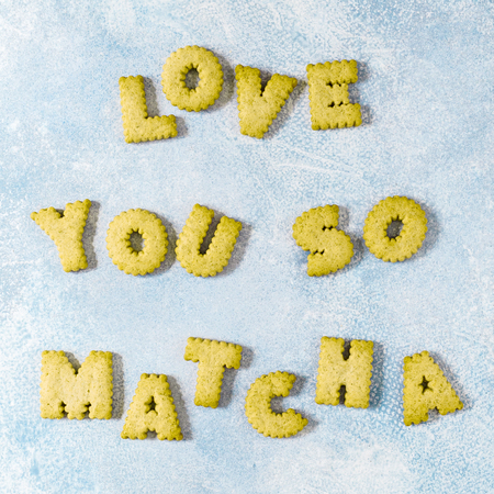 Crackers Arranged as a Phrase Love You So Matcha, square
