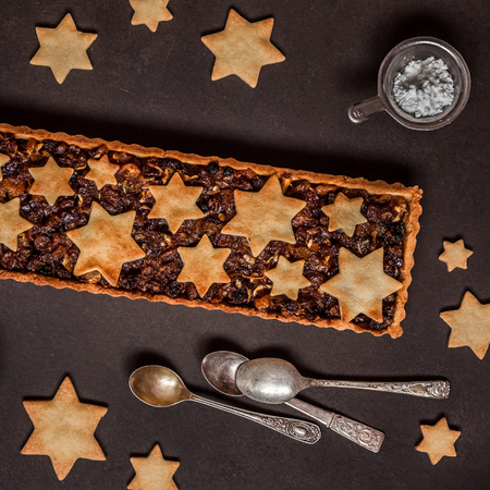 British Christmas Mincemeat Tart, Shortcrust Pastry with Fruit Mince, square