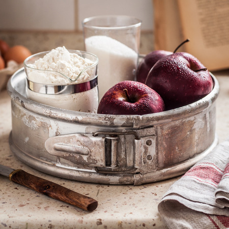 Apple Pie Ingredients in a Cake Pan on the Kitchen Table, square