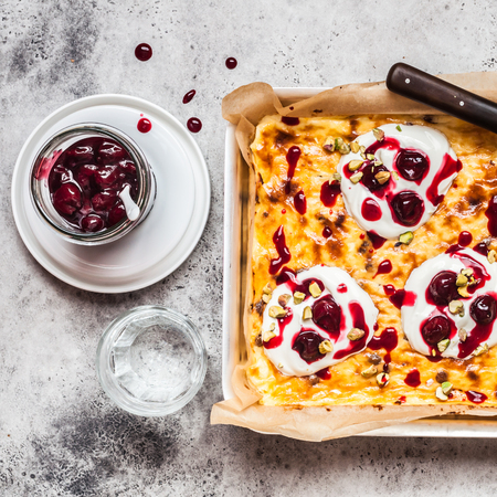Sweet Cheese Bake with Sour Cream and Cherry Sauce, square
