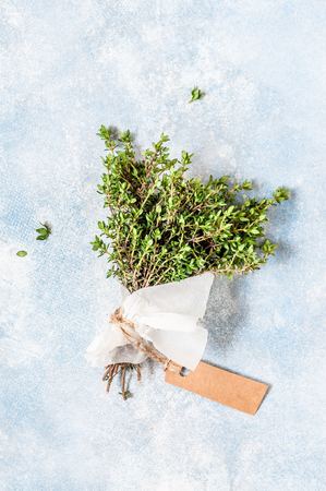 A Bunch of Fresh Thyme Wrapped in Paper, copy space for your text