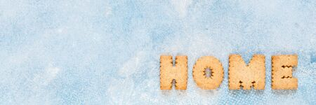 Crackers Arranged as a Word Home, banner Imagens