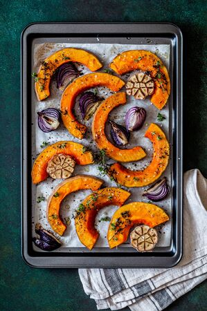 Roasted Butternut Squash Slices with Red Onions and Thyme