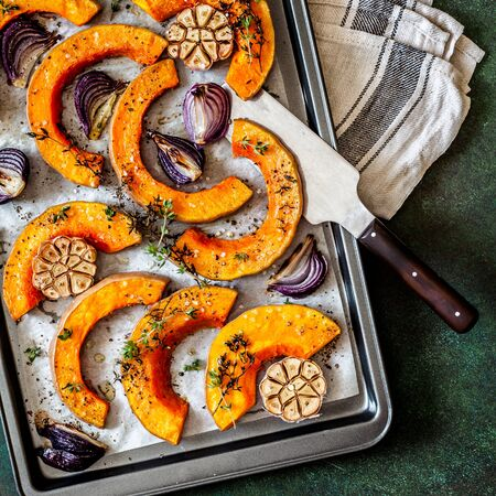 Roasted Butternut Squash Slices with Red Onions and Thyme, square Stock Photo
