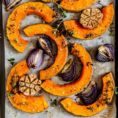 Roasted Butternut Squash Slices with Red Onions and Thyme, close up, square
