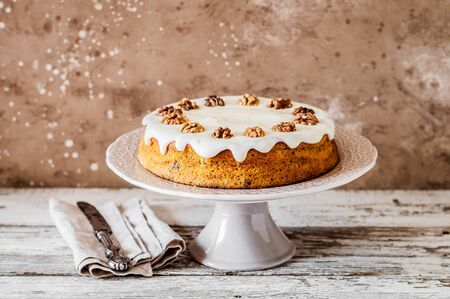 Pumpkin Cake with Walnuts and Cream Cheese Frosting