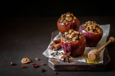 Baked Apples Stuffed with Walnuts and Sultanas, copy space for your text