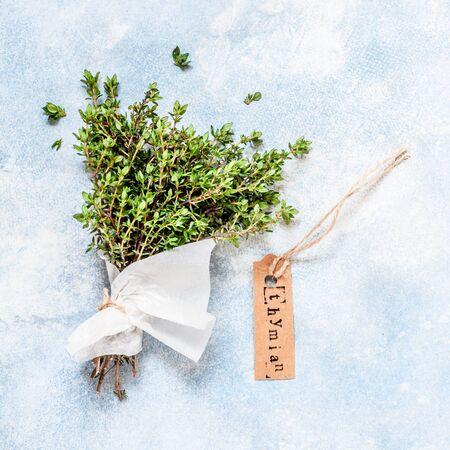 Un bouquet de thym frais enveloppé dans du papier, Thymian en allemand, carré Banque d'images