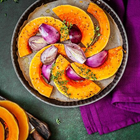 Butternut Squash Slices with Red Onions and Thyme Prepared for Roasting, square