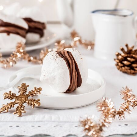 Huge Meringue Kisses Sandwiched with Creamy Chocolate Filling, square