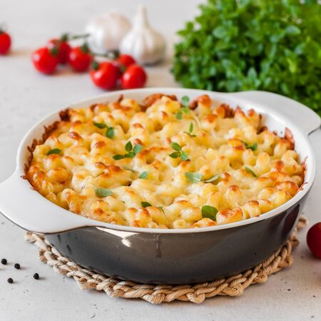 Pasta and Cheese Bake with Basil, square