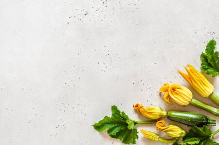 Zucchinis with Flowers and Leaves, copy space for your text Standard-Bild