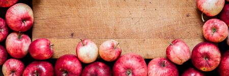 Ripe Red Apples, Old Wood Background, banner, copy space for your text