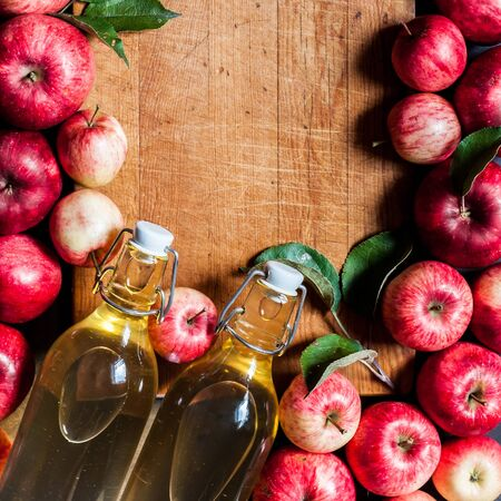 Ripe Red Apples with Leaves, Cider, Vinegar, Juice, Old Wood Background, square, copy space for your text