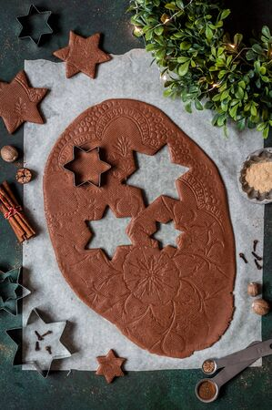 Rolled Gingerbread Cookie Dough with Lace Print Zdjęcie Seryjne