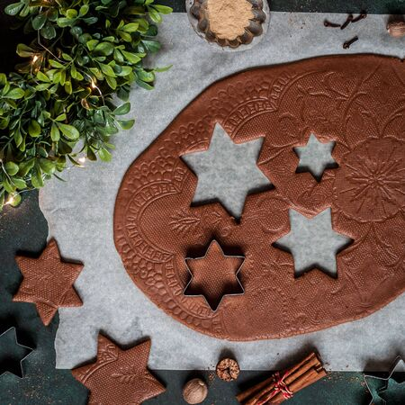 Rolled Gingerbread Cookie Dough with Lace Print, square 스톡 콘텐츠 - 133038077