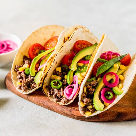 Mexican Minced Beef Tacos with Vegetables and Corn Salsa, square
