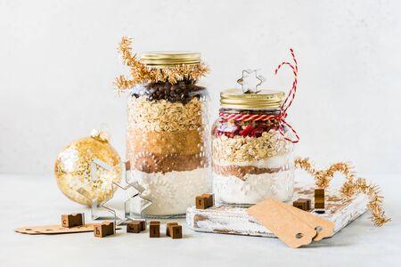Various Christmas Gift Cookie Mixes in Jars