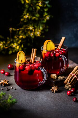 Christmas Orange and Cranberry Mulled Wine, copy space for your text