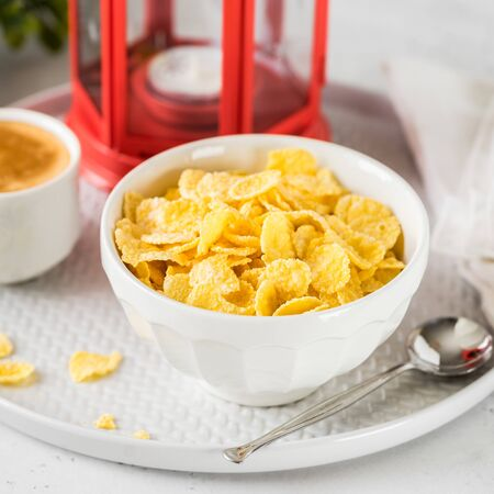 Christmas Breakfast Cornflakes with a up of Coffee, square Stock fotó