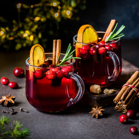 Christmas Orange and Cranberry Mulled Wine, square
