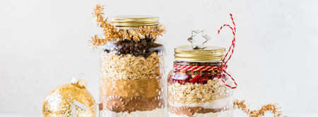 Various Christmas Gift Cookie Mixes in Jars, banner Stock Photo