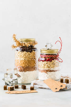 Various Christmas Gift Cookie Mixes in Jars, copy space for your text