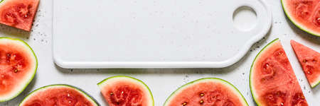 A Frame of Watermelon Slices, banner, copy space space for your text